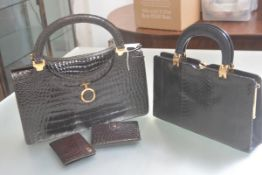 A stylish 1970s Gino Tromba of Milan Italy for Mappin & Webb high gloss crocodile skin two handled
