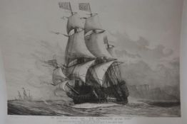 Harold Wyllie, His Majesty's Royal Ship, the Sovereign of the Seas, print, signed lower left in