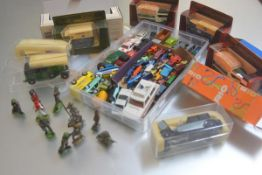 A mixed lot containing Corgi and Matchbox cars etc., including a landrover, trucks, a Royal