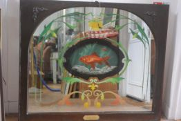A mahogany framed arched top pub mirror with reverse painted Goldfish, Carassius Auratus, enclosed