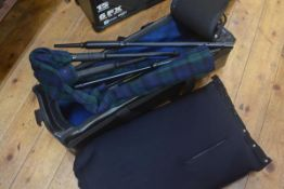 An American bagpipe mute, specially imported, a Thistle of Blantyre bagpipe case and a set of