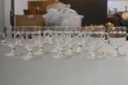 A set of ten crystal slice cut custard cups (h.9cm)