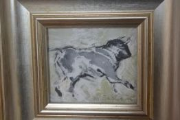 Sadler, Running Bull, mixed media, signed and dated '04 (8cm x 10cm)