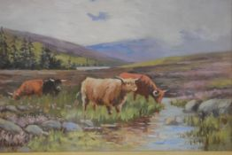 G M Rennie, Highland Scene with Cattle, oil on canvas, signed (18cm x 28cm)