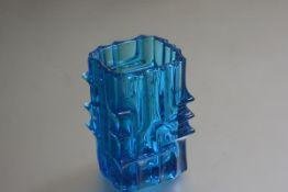 Vladislav Urban for Sklo Union Czech Bohemia, a 1960s square brick style moulded glass vase (h.
