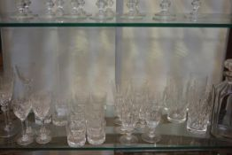 Four crystal slice and thumb cut white wine glasses, five crystal schooners, six crystal thumb cut