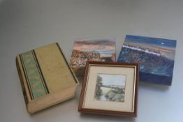 A mixed lot including Justine Marjoribanks, Field of Dreams, oil on canvas (15cm x 15cm) and another