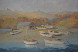 Hugh E Ridge, Sailboats on the Bank, oil on canvas, signed lower right (44cm x 54cm)