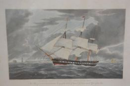 After W.J. Huggins, HMS Winchester, engraving highlighted with colour, engraved by E Duncan, in