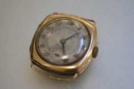 A gentleman's Swiss made Tavannes Watch Co., 9ct gold cased wristwatch with silvered dial and arabic