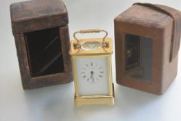 A Henley, England four glass carriage clock with enamelled dial, retailed by R.L. Christie & Co.,