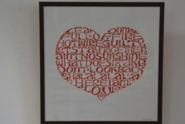 Scott Herskovitz, Heart Full of Words and Emotions, limited edition print, 18/100, signed in