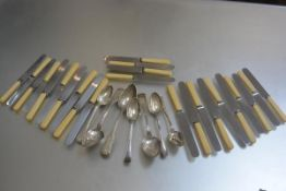 Three various Continental table spoons with shell and fiddle pattern, three French white metal