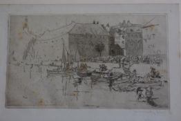 Early 20thc School, Scandinavian Port Scene, etching, signed indistinctly (9cm x 17cm)