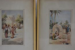 J Aubert, Two Egyptian Scenes, the Well and the Street, watercolour, signed (22cm x 14cm)