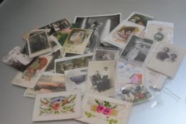 A collection of vintage postcards, photographs, sweetheart valentines etc. (a lot)