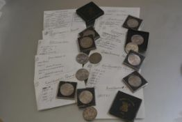 A collection of coins including an 1866 penny in fine condition, a George III halfpenny, 1807,