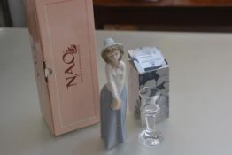 A Royal Copenhagen crystal cordial glass complete with original box and a Nao Spanish porcelain