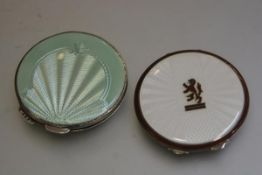 A 1920s/30s Birmingham silver green guilloche enamelled circular compact, complete with mirror and a