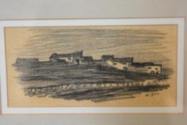 Muirhead Bone, Moonlight Village, charcoal sketch, signed M.Bone lower right (7cm x 15cm)