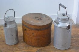 A 19thc tole hat box with loop handle to top (h.29cm x 37cm x 32cm) and two aluminium Victory
