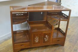 A Chinese cherrywood mother of pearl inlaid side cabinet, the rectangular top with centre section,