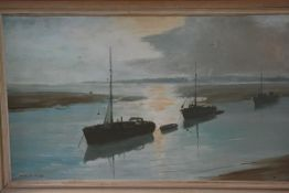 Marcus Ford, Boats at Low Tide, oil on canvas, signed (44cm x 75cm)