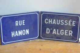 A pair of French blue and white enamelled street signs, Rue Hamon and Chaussee D'Alger (30cm x