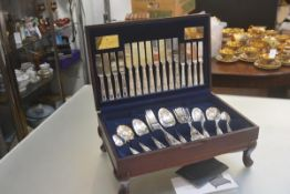 A Viners fifty eight piece Embassy canteen of double struck fiddle and shell pattern flatware
