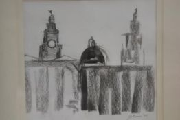 A J Corina, The Liver Building, Liverpool, pastel sketch, signed and dated '95 (