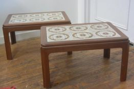A pair of G Plan teak 1960s/70s tile top coffee tables with rounded angles on square shaped supports