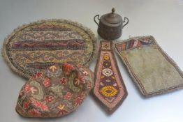 An Eastern brass two handled sugar basin and cover and a collection of embroidered 19thc and later