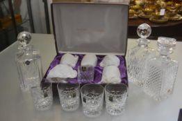 A set of six Edinburgh Crystal slice cut whisky tumblers, an Edinburgh Crystal decanter with City