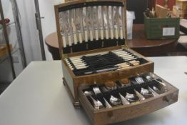 A suite of Walter Trickett & Co. Ltd. Epns Old English pattern flatware complete with carving set,