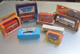 A collection of boxed and unboxed Corgi 1970s transport buses, taxi etc. (a lot)