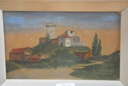 W.T., A Fortified Italian Mountain Farm, oil on paper, signed with initials and dated 6 1 08, in