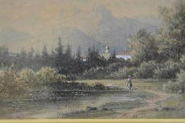 J Hoffmann, Fishermen by a Pond, watercolour, signed lower left (13cm x 18cm)