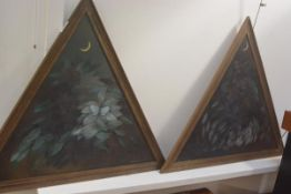 Mayo, a pair of triangular shaped panels, Braehead, Kilmory, Arran, with flower, leaf and