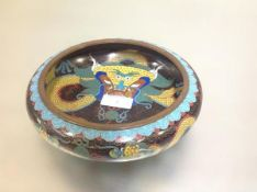 A Chinese cloisonne enamel bowl, decorated to the well and the exterior with yellow scrolling