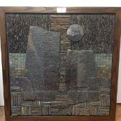 "Dugald MacInnes (Scottish, 20th Century), ""Standing Stones - a Finite Alignment"", a slate mosaic,"