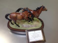 A Royal Worcester limited edition model group, Galloping Ponies, modelled by Doris Lindner,