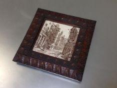 Minton's China Works, a dust-pressed sepia printed tile of Cardinal Beaton's House, Edinburgh, c.