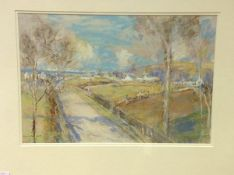 James Kay R.S.A., R.S.W. (Scottish, 1858-1942), A Seaside Road, signed lower left, pastel, framed.