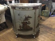 A 1920's silver lacquer Chinoiserie demilune side cabinet, probably Hille of London, the top