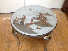 A 1920's silver lacquer Chinoiserie low table, probably Hille of London, the circular top