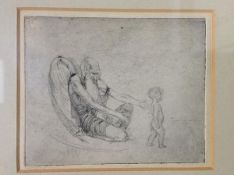 Frank Lewis Emanuel (British, 1865-1948), Escaping the Clutches of Father Time, etching, framed.