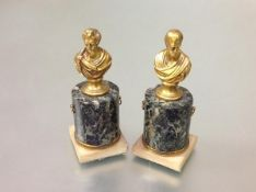A pair of 19th century desk or mantel gilt-bronze busts of Sir Walter Scott and Lord Byron, each
