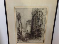 Hedley Fitton (British, 1859-1929), Theatre of Marcellus, Rome, drypoint etching, signed in