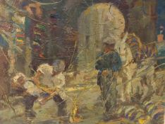 Rahmi Pehlivanli (Turkish 1926-1992), Figures by an Arch, oil on board, bearing presentation