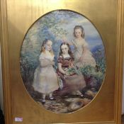 English School, c. 1900, Three Sisters, a portrait group, each with hair bound in a blue ribbon,